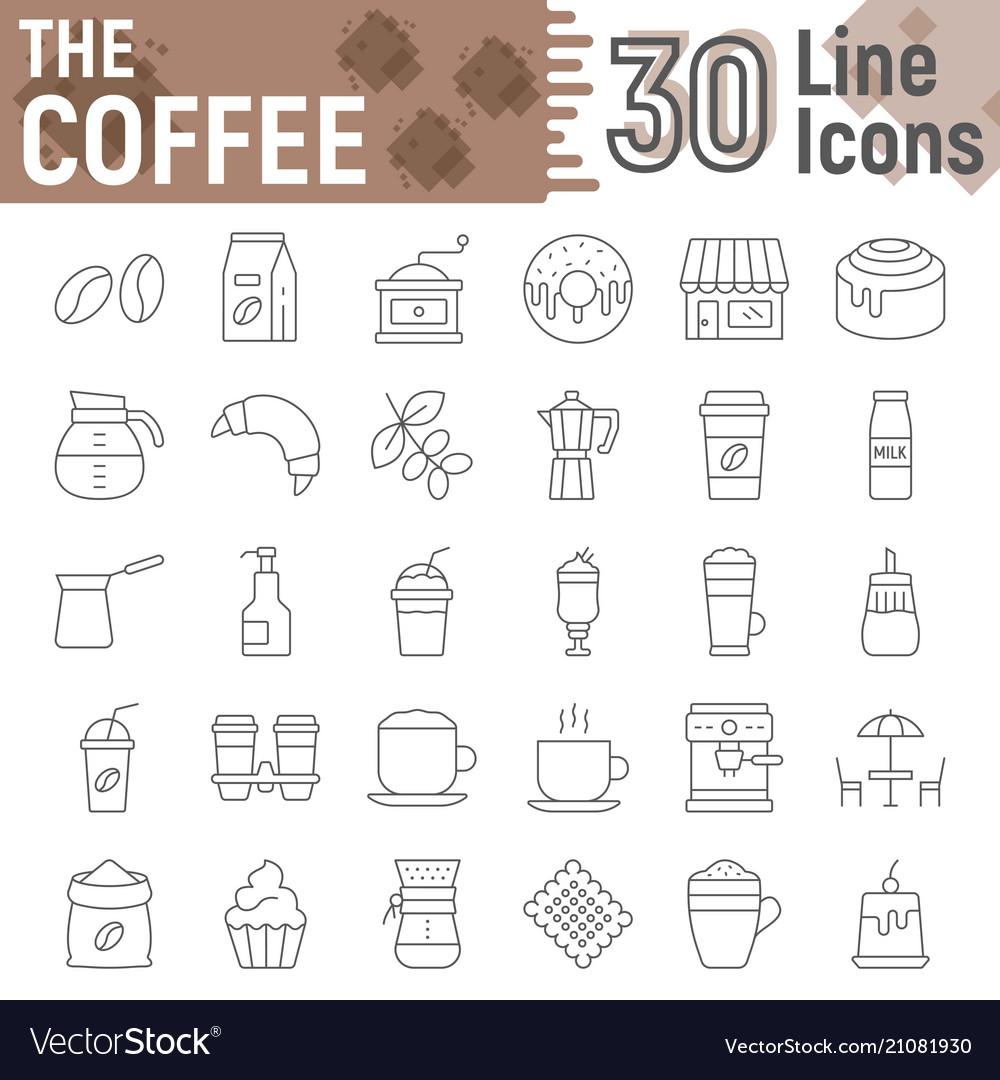 Coffee Thin Line Icon Set Coffee Shop Symbols Vector Image