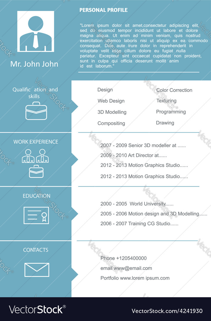 Cv Curriculum Vitae Template Royalty Free Vector Image