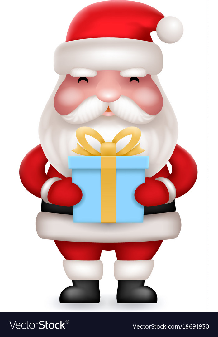 Gift box present cute 3d realistic cartoon santa