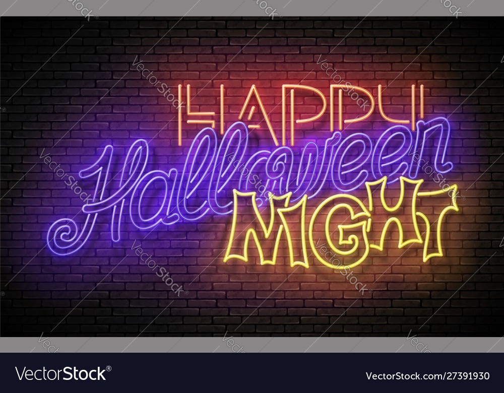 Glow greeting card with halloween night party