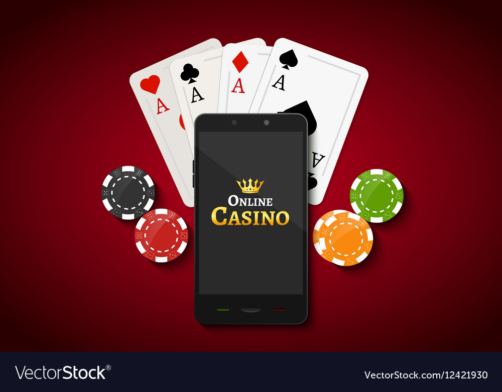 Online Mobile Casino Background Poker App Vector Image