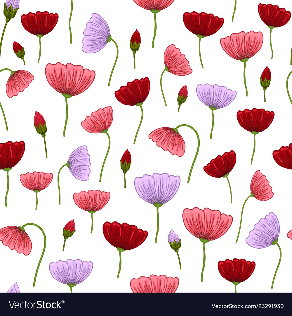 Seamless pattern with romantic flowers elements