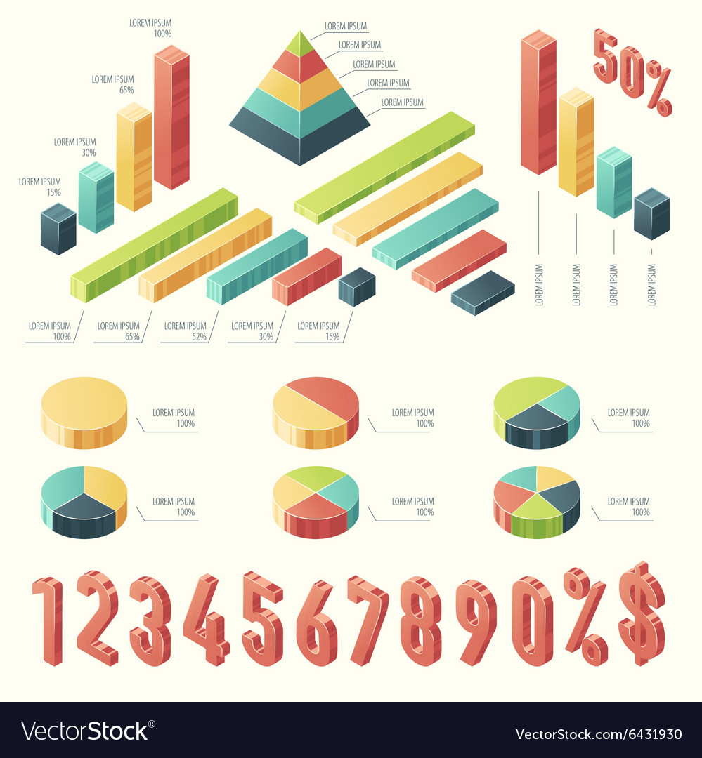 Set 3d infographic Template presentation Isometric