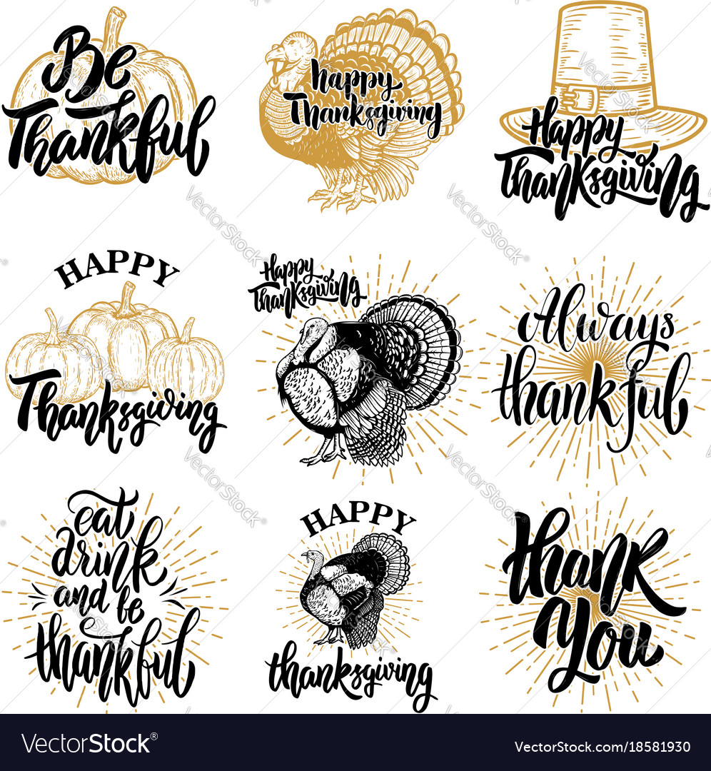 Set of happy thanksgiving badges turkey pumpkin