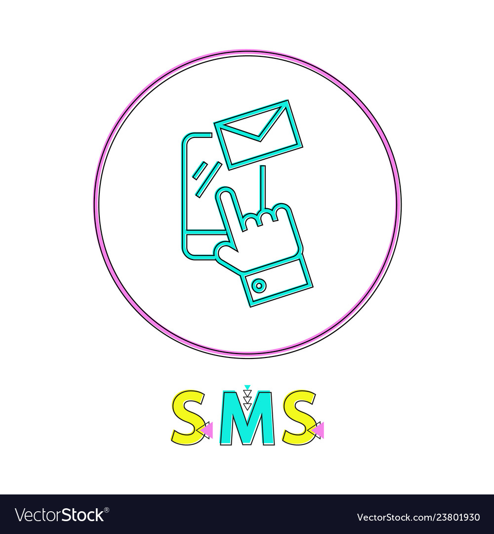 Sms round linear icon with smartphone and envelope