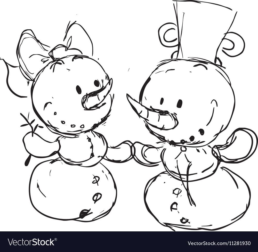 Snowmen in love sketch
