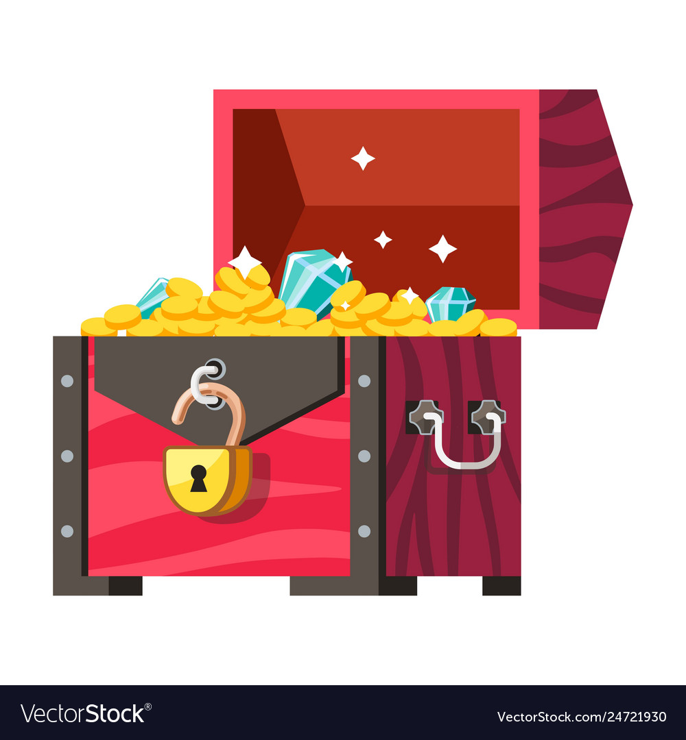 Treasures chest gold coins and gemstones money and