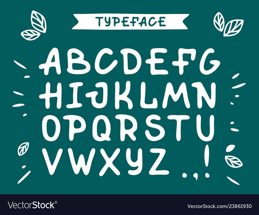 Veranda cursive font alphabet with latin