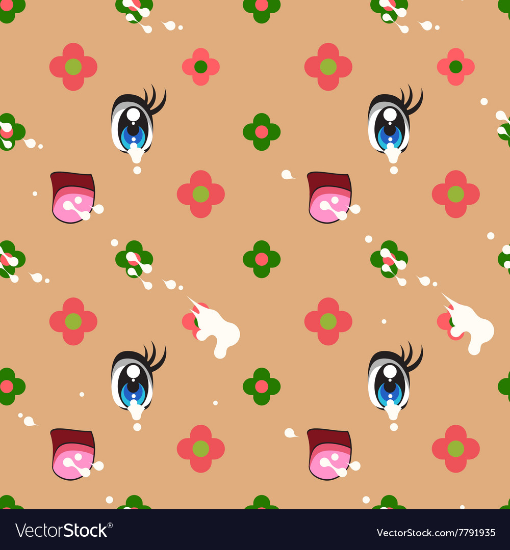 Abstract seamless pattern of cute kawaii style