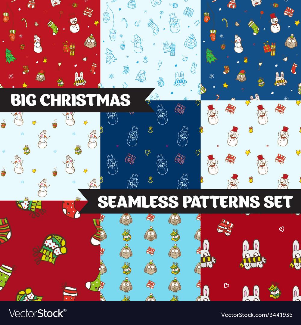 Big christmas seamless patterns set
