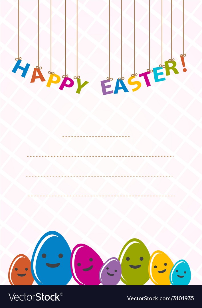 Colored happy eggs Easter cards