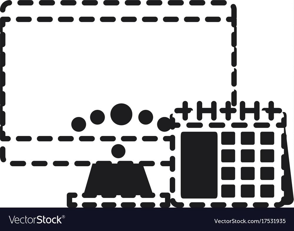 Computer and calendar icon vector image