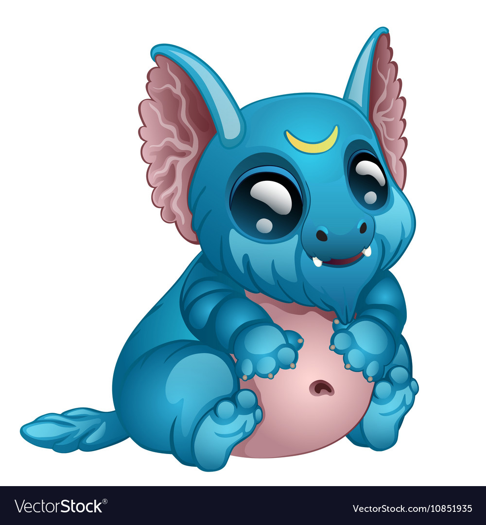 Cute toothy blue monster with big eyes and ears