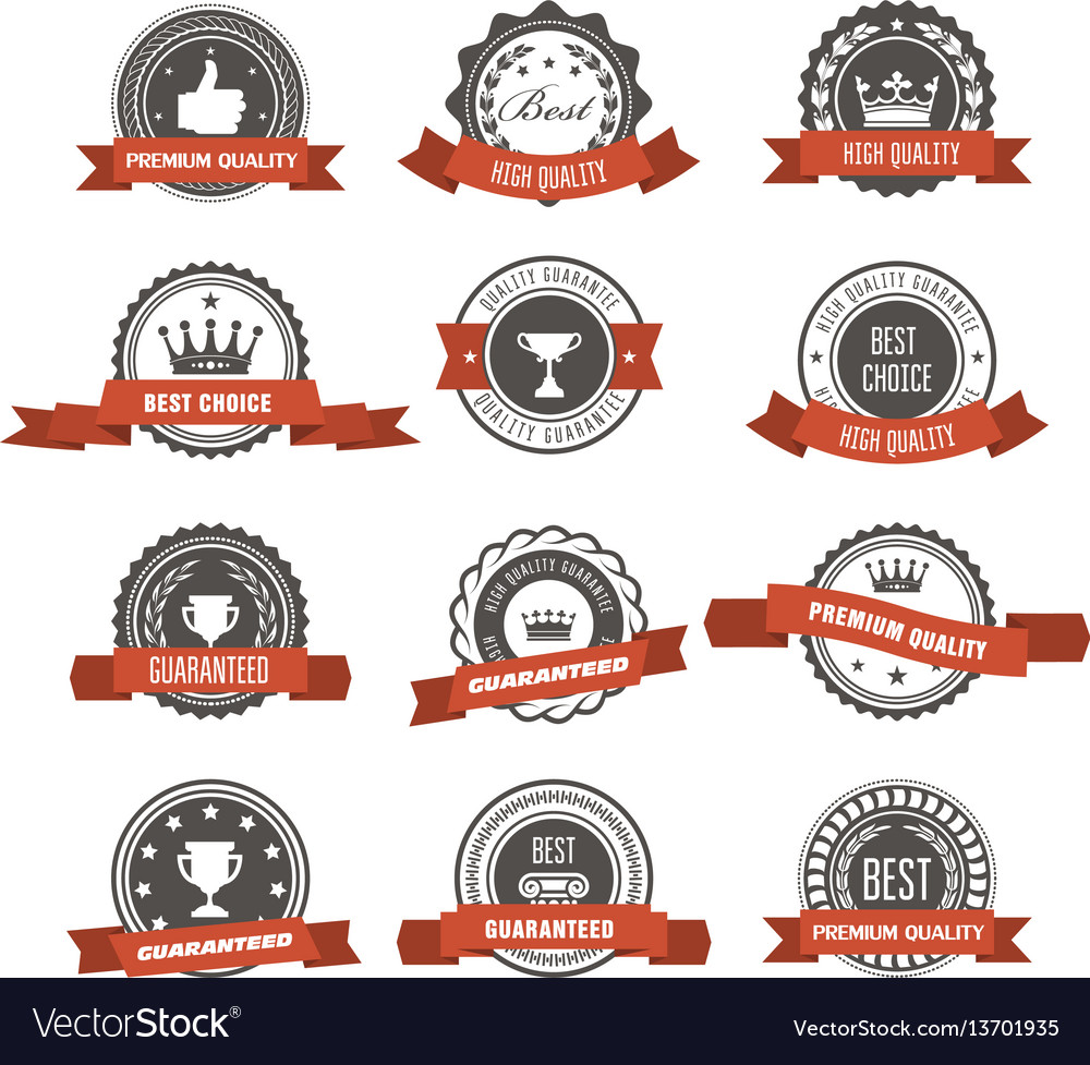 Emblems badges and stamps with ribbons - awards