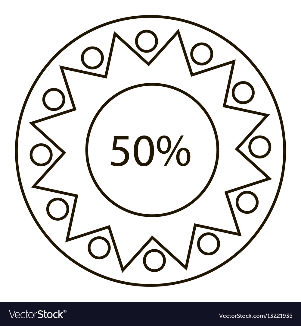 Fifty percents infographics outline style vector image
