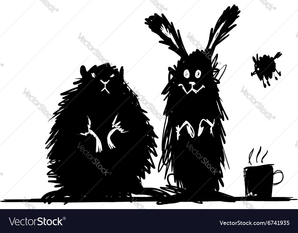 Funny stylized rodent animals Sketch for your vector image