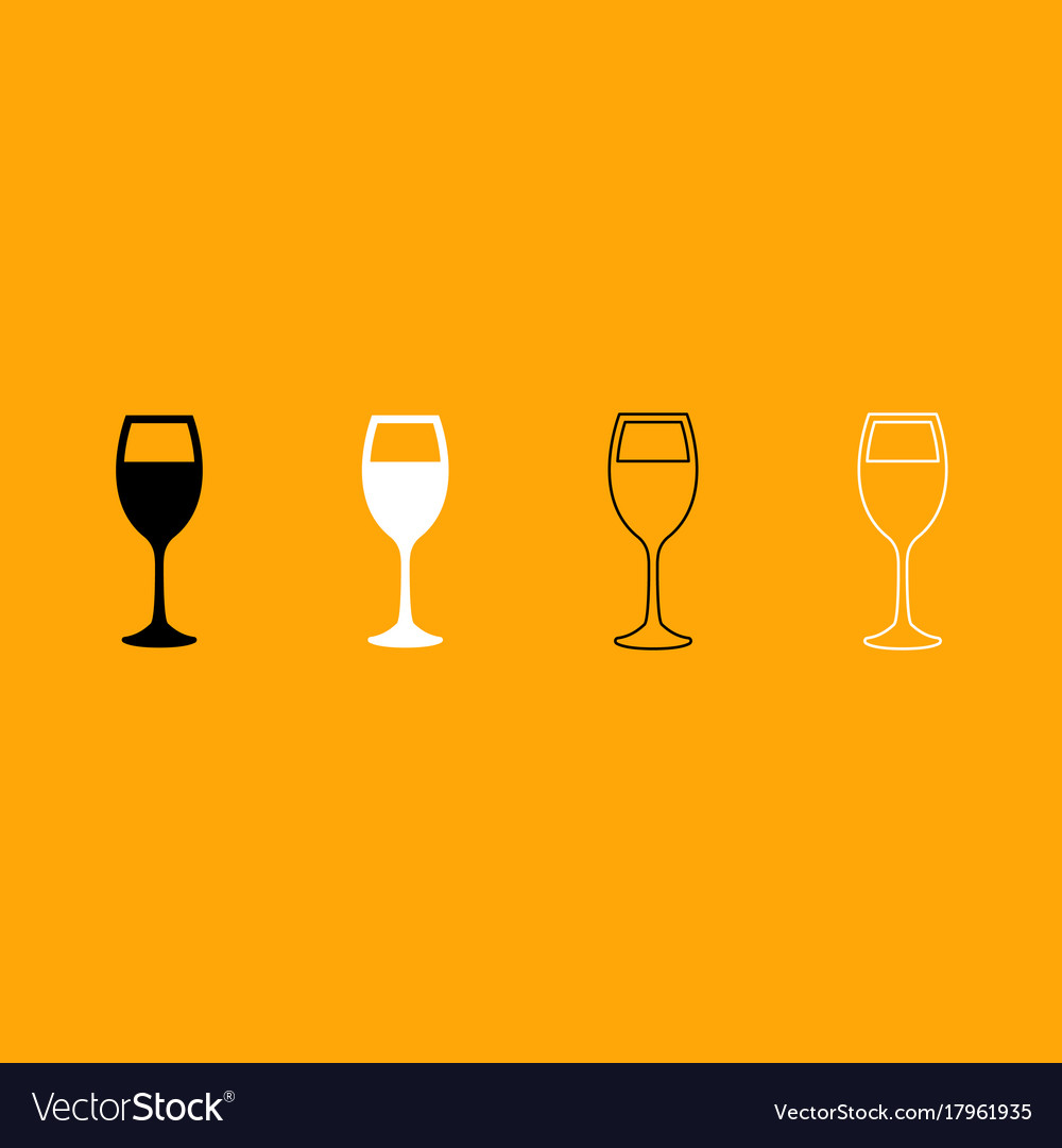 Glass of wine black and white set icon