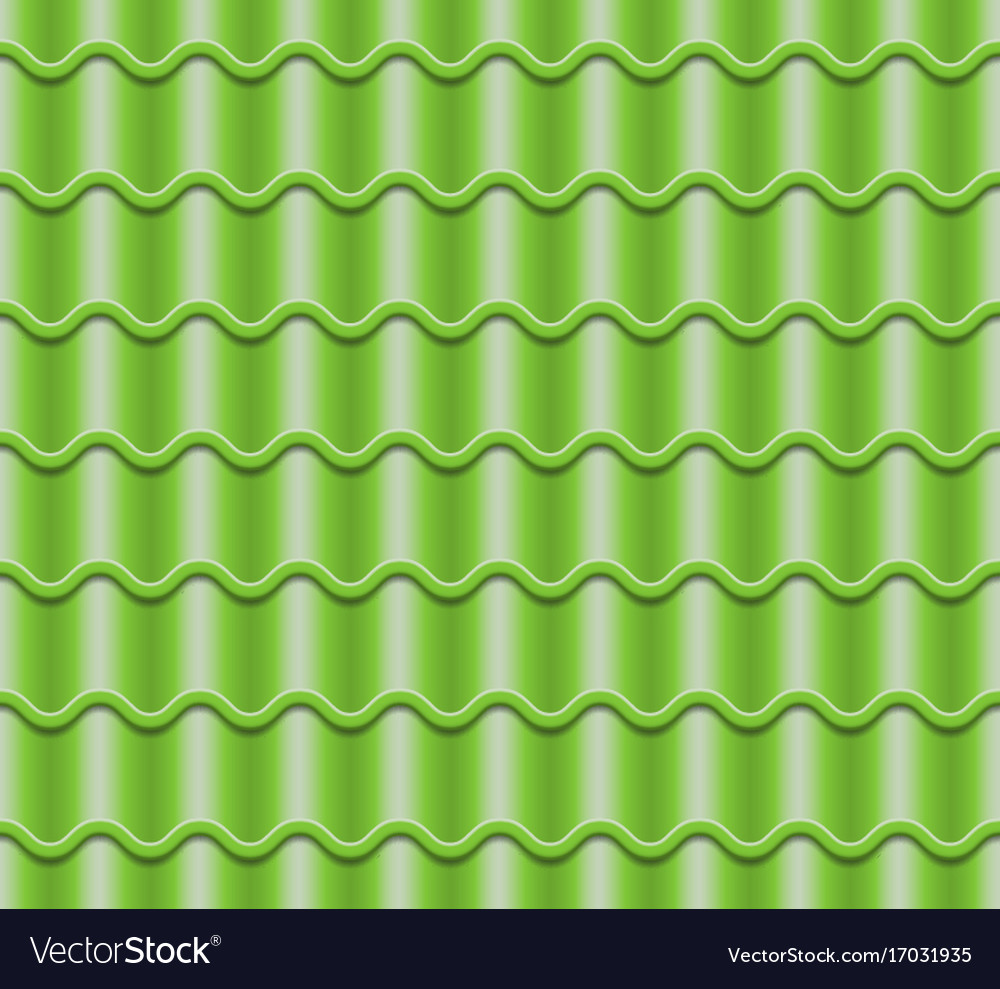 Green corrugated tile element of roof vector image