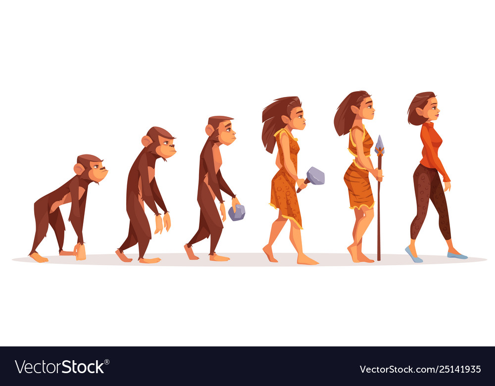 Human evolution from monkey to modern sexy woman