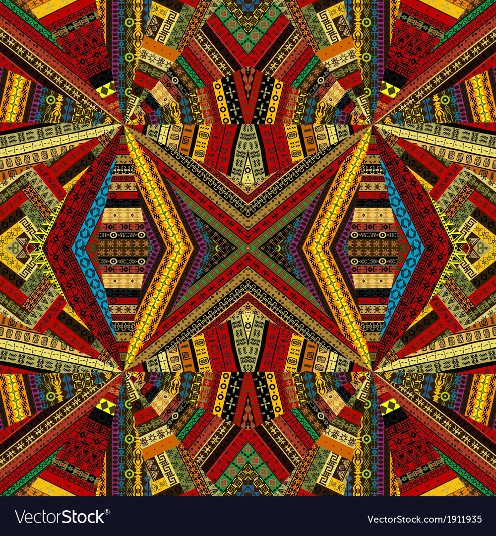 Kaleidoscope made of ethnic patchwork fabric vector image