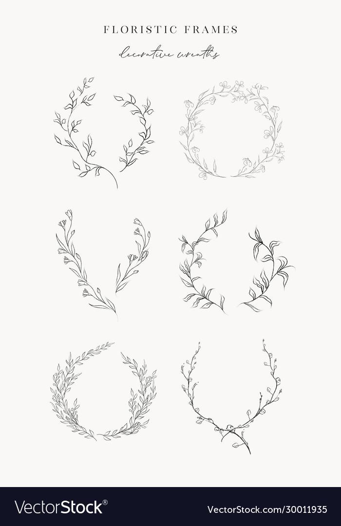 Line drawing leaf branch wreaths frames