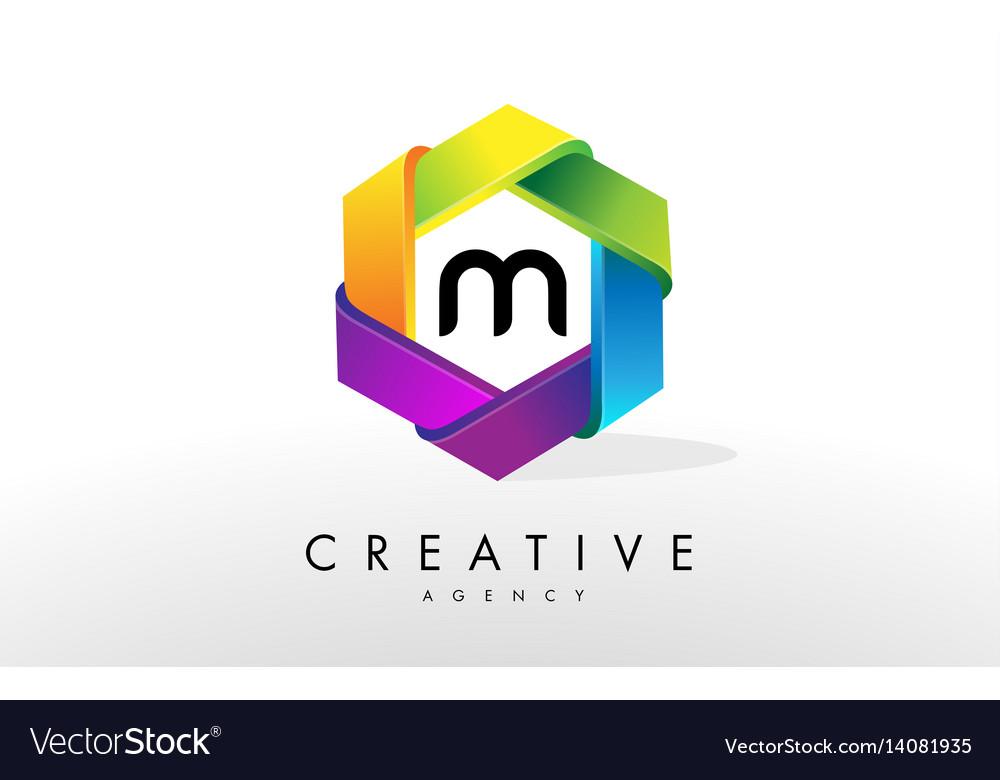 M letter logo corporate hexagon design vector image