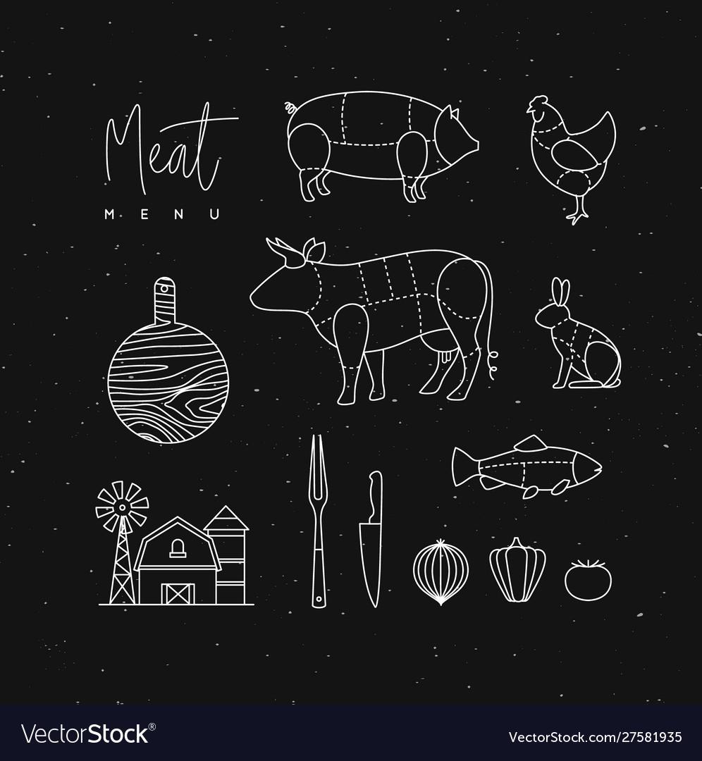 Meat menu flat design elements black
