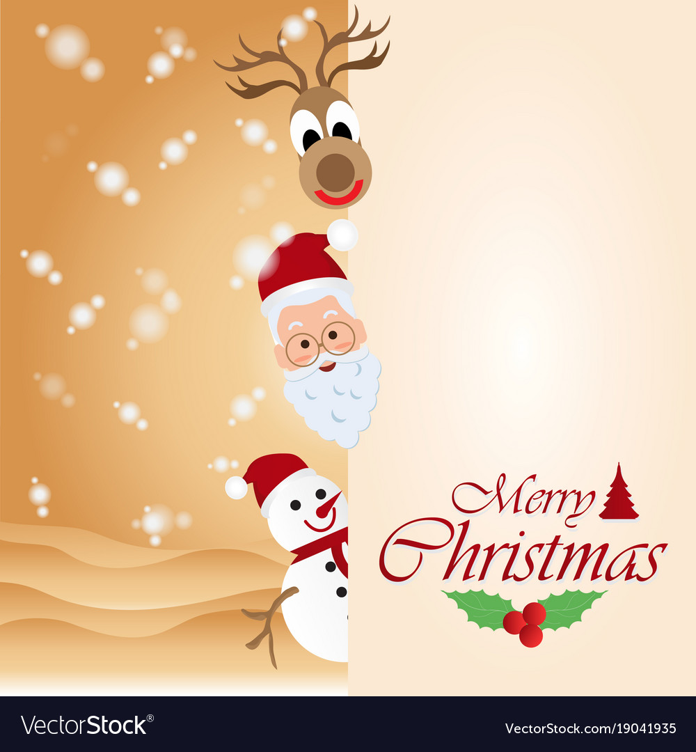 Merry christmas greeting card with christmas