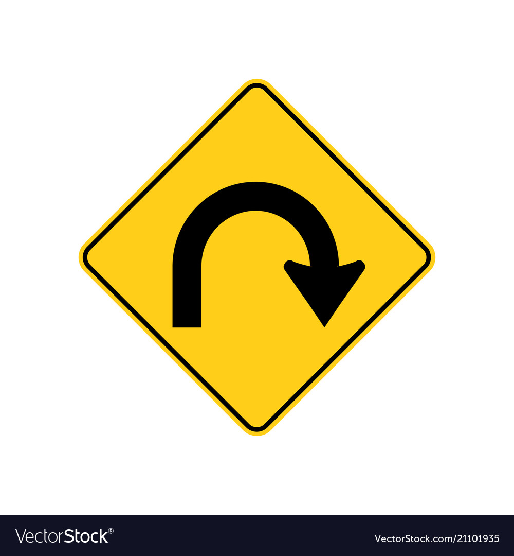 Usa traffic road signs hairpin curve