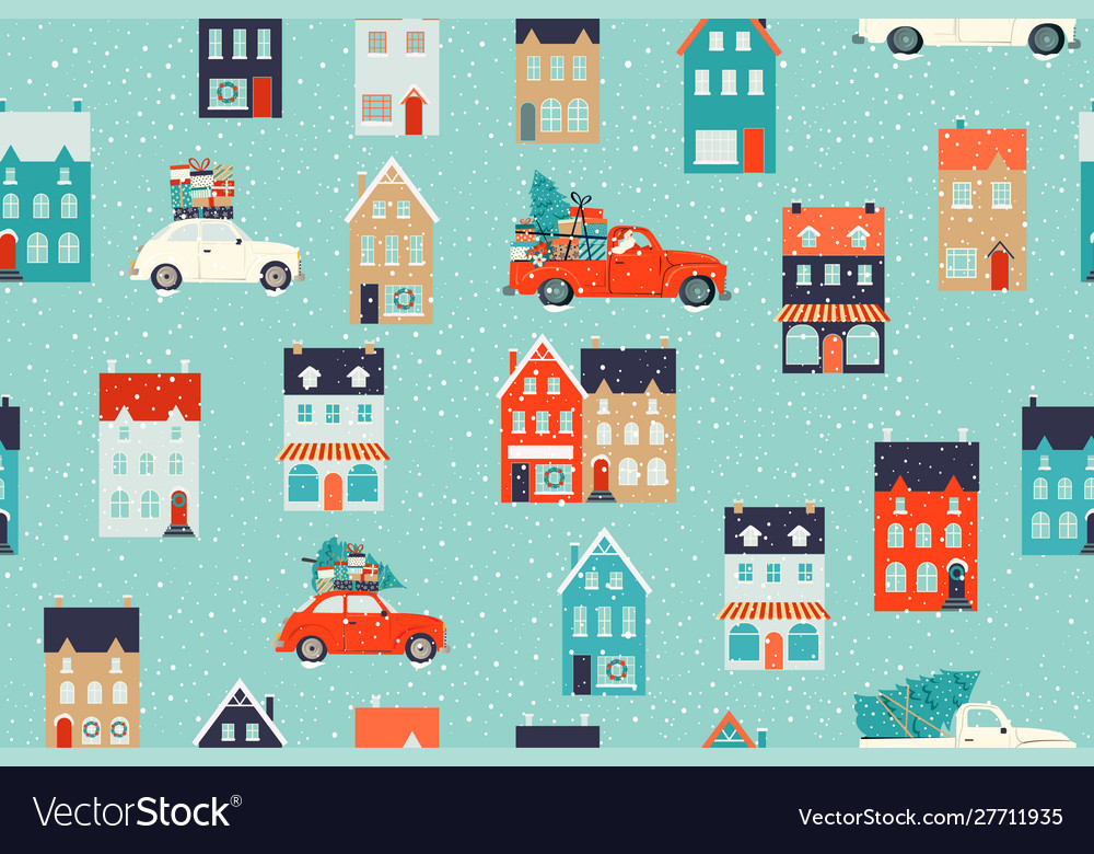 Winter houses for christmas and red retro car with