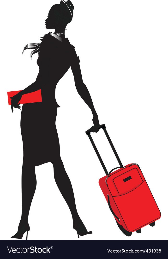 Young womenstewardess silhouette vector