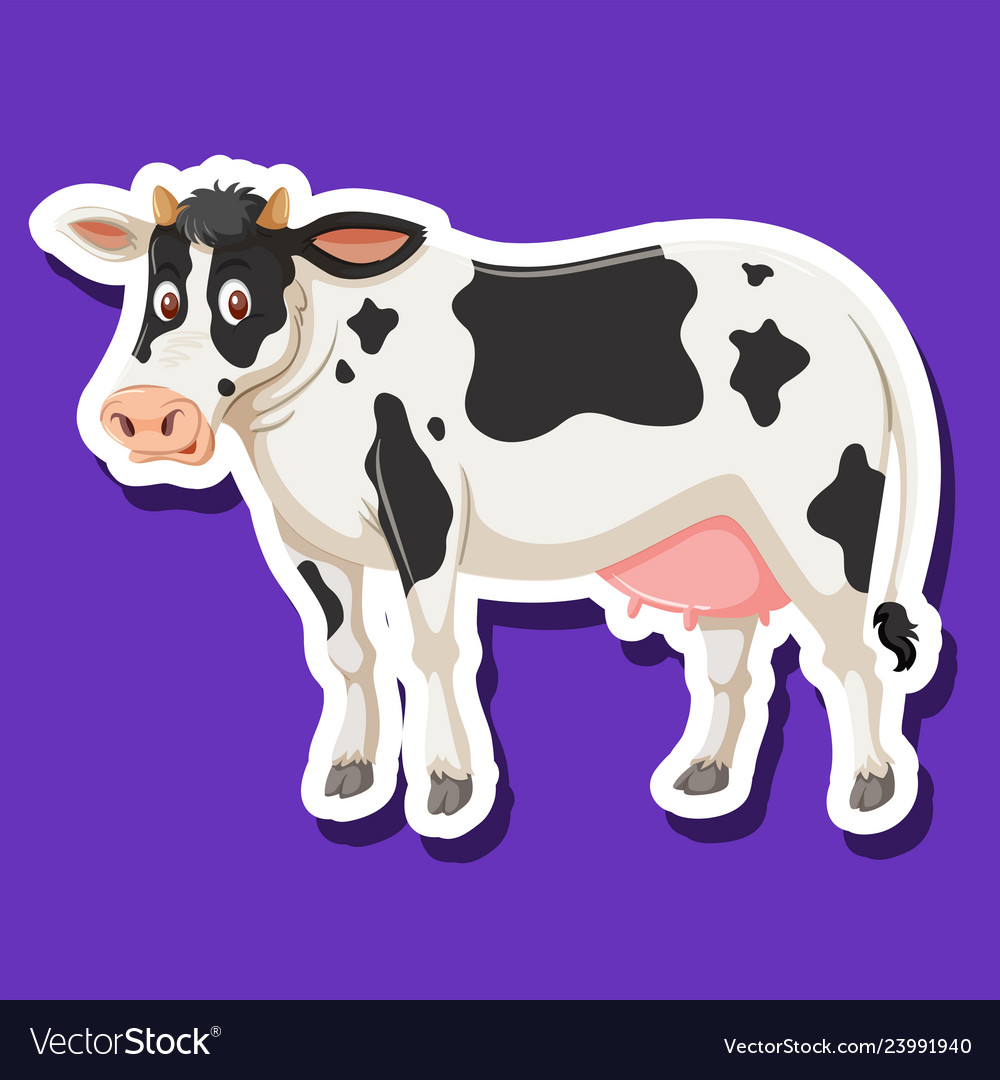 A cow character sticker