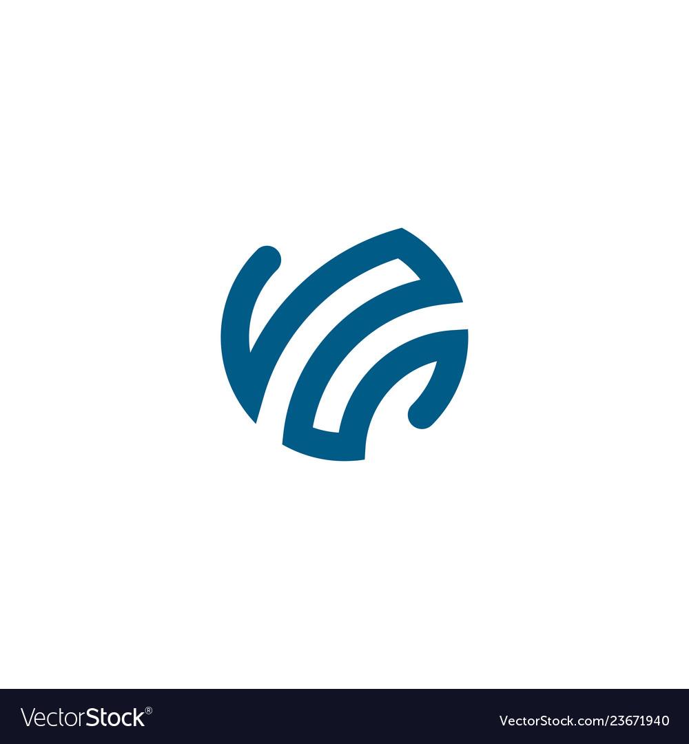 Blue globe icon sign element