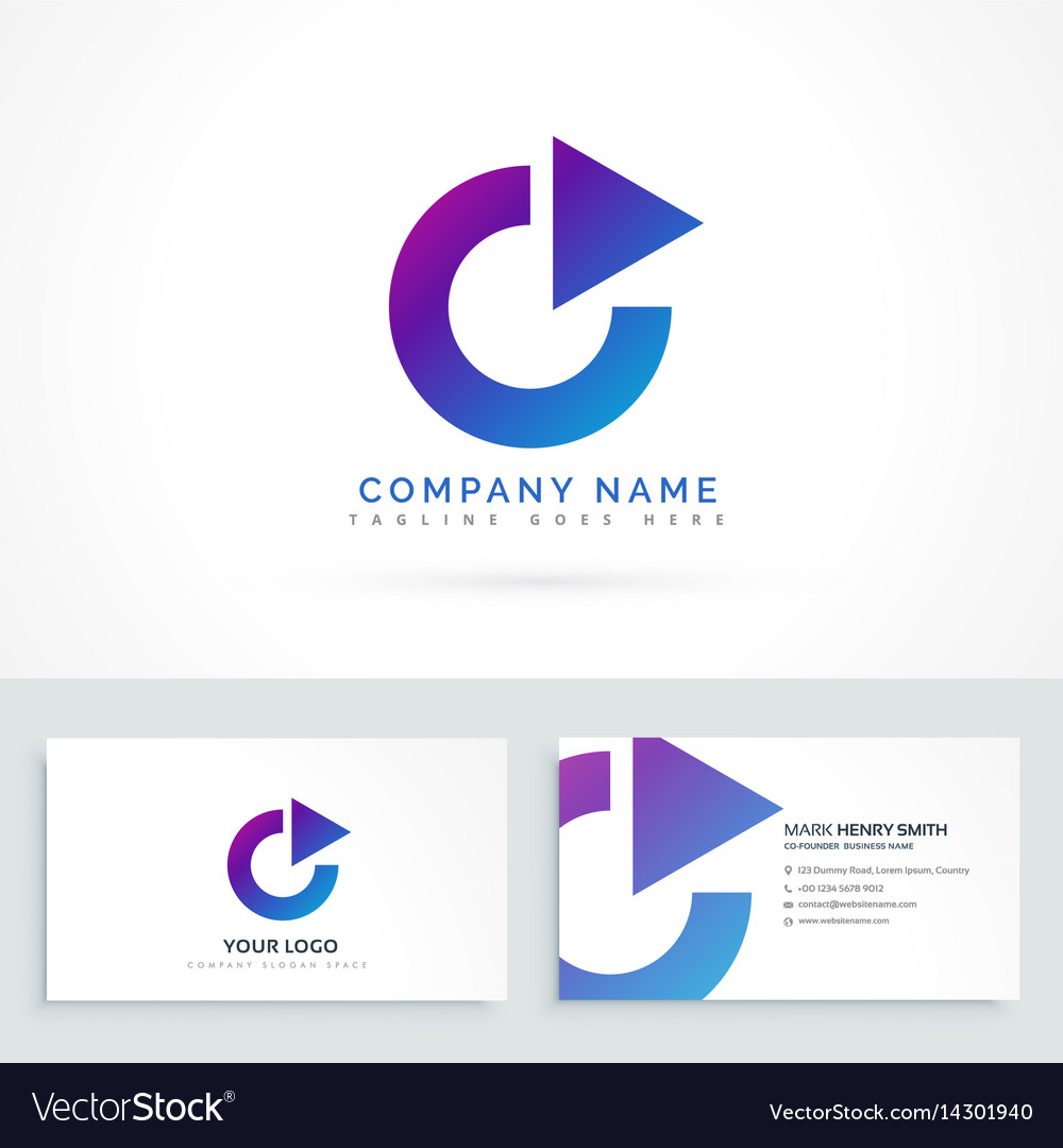 Circle arrow triangle logo design with business