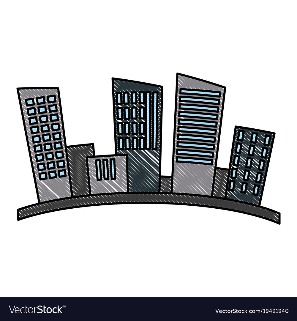 City urban buildings silhouette Royalty Free Vector Image