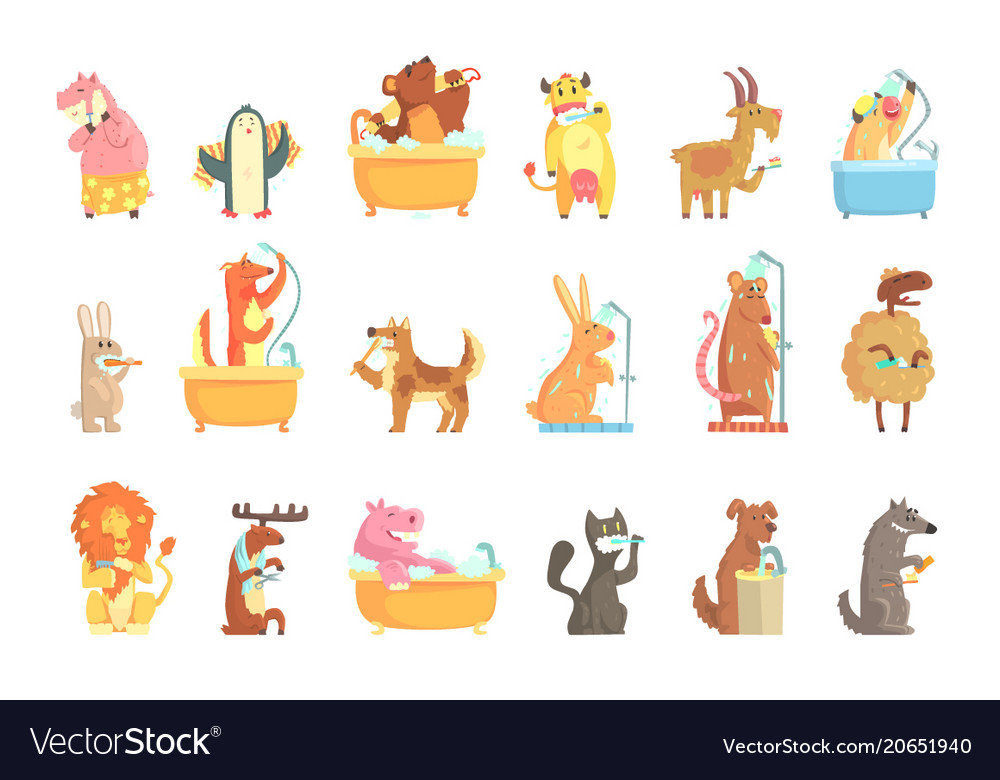 Cute animals bathing and washing in water set for