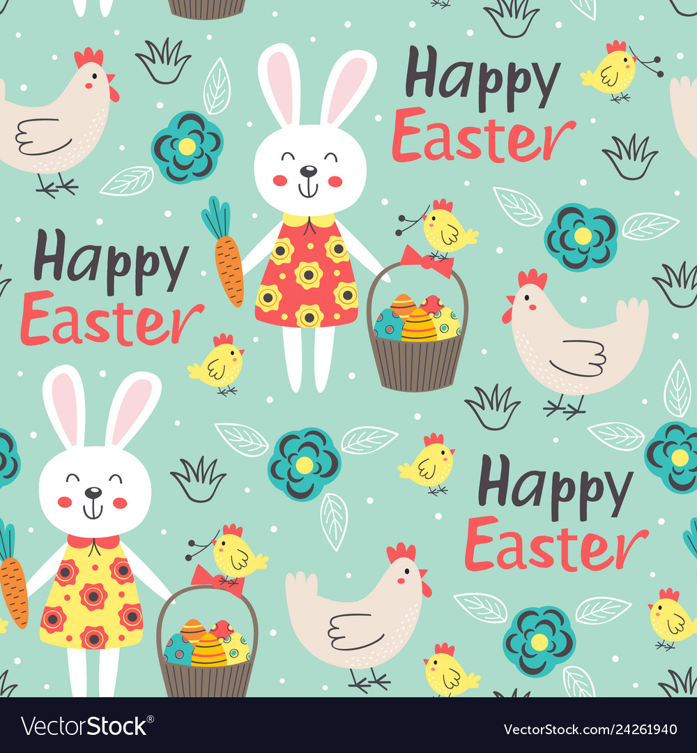 Easter seamless pattern with rabbit and chicken