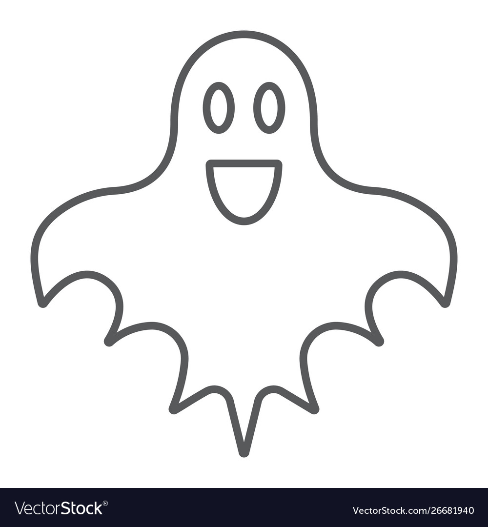 ghost thin line icon halloween and horror spirit vector