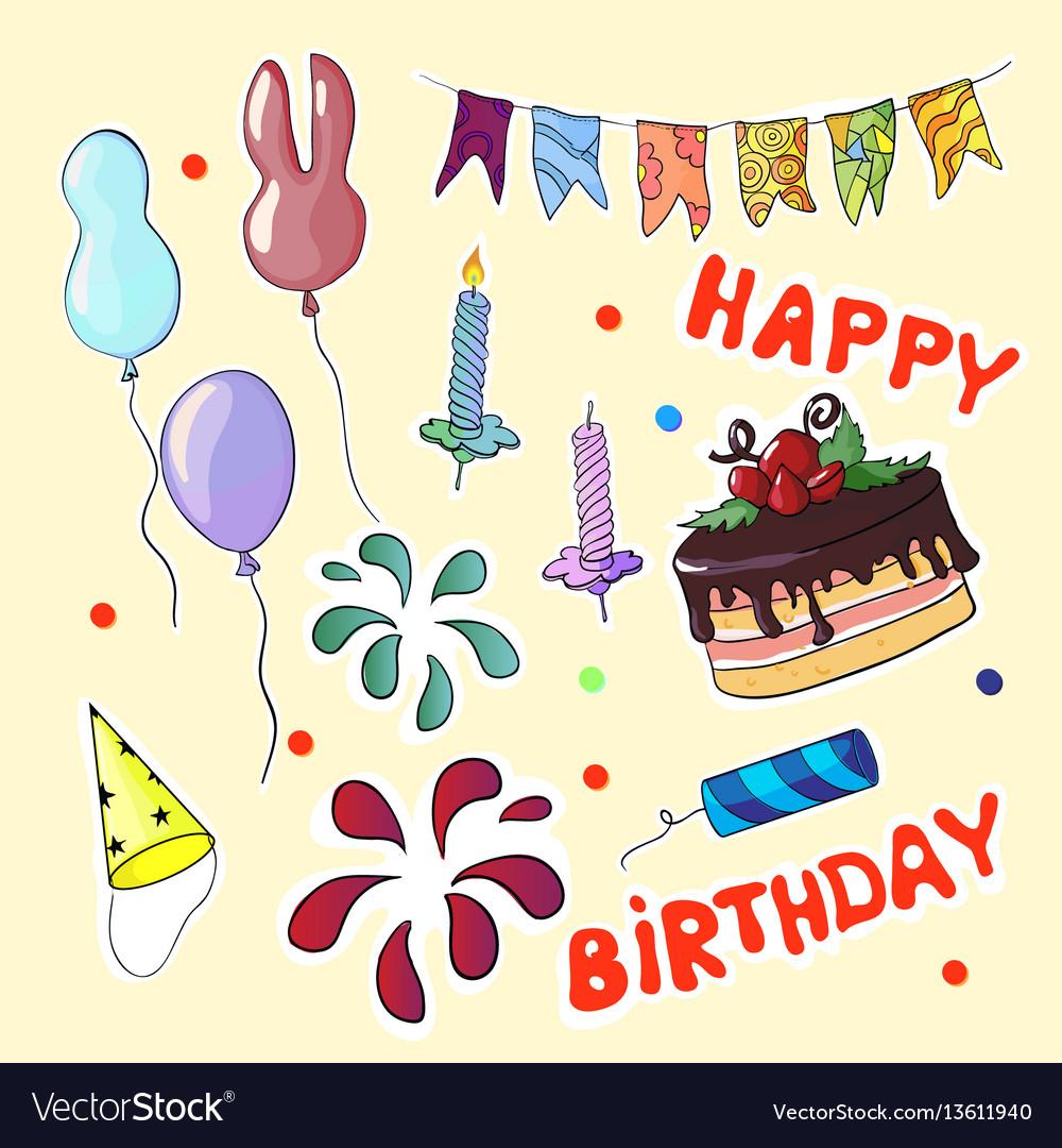 Happy birthday set in cartoon style