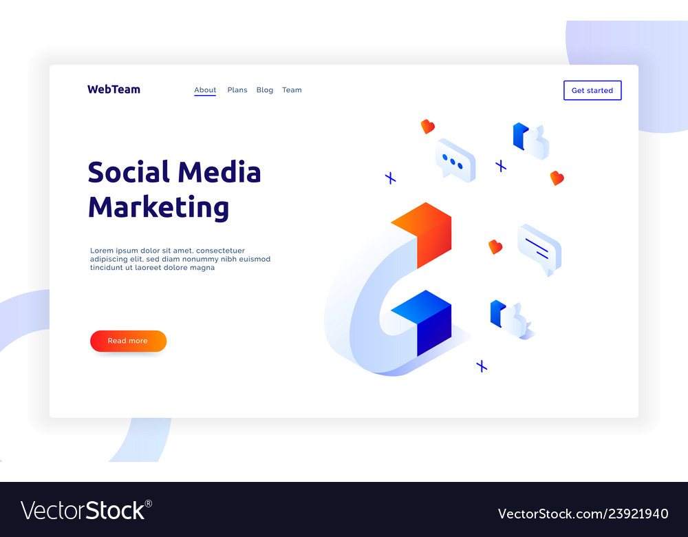 Isometric social marketing gradient style design