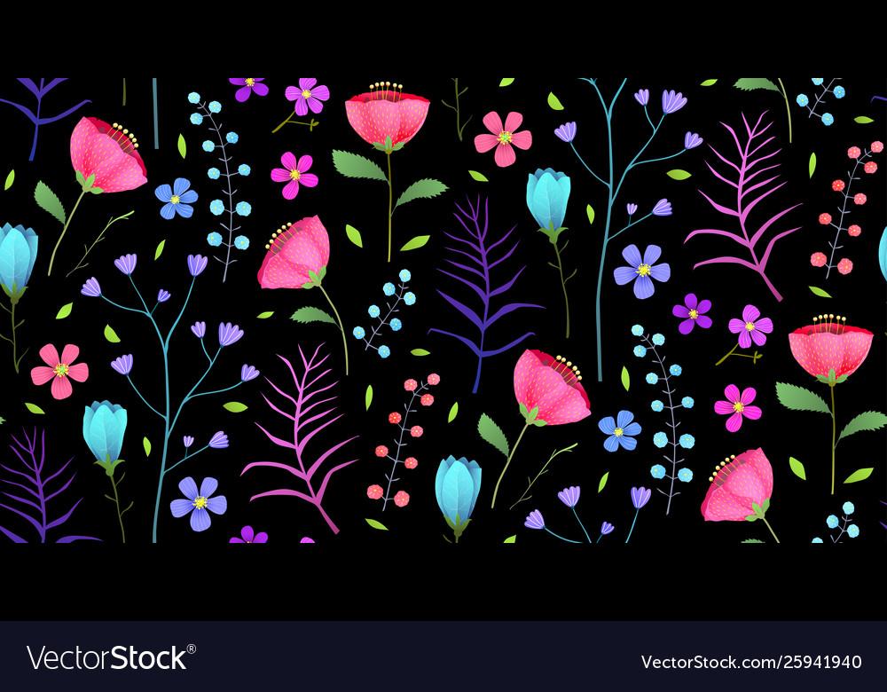 Meadow flowers flat seamless pattern on