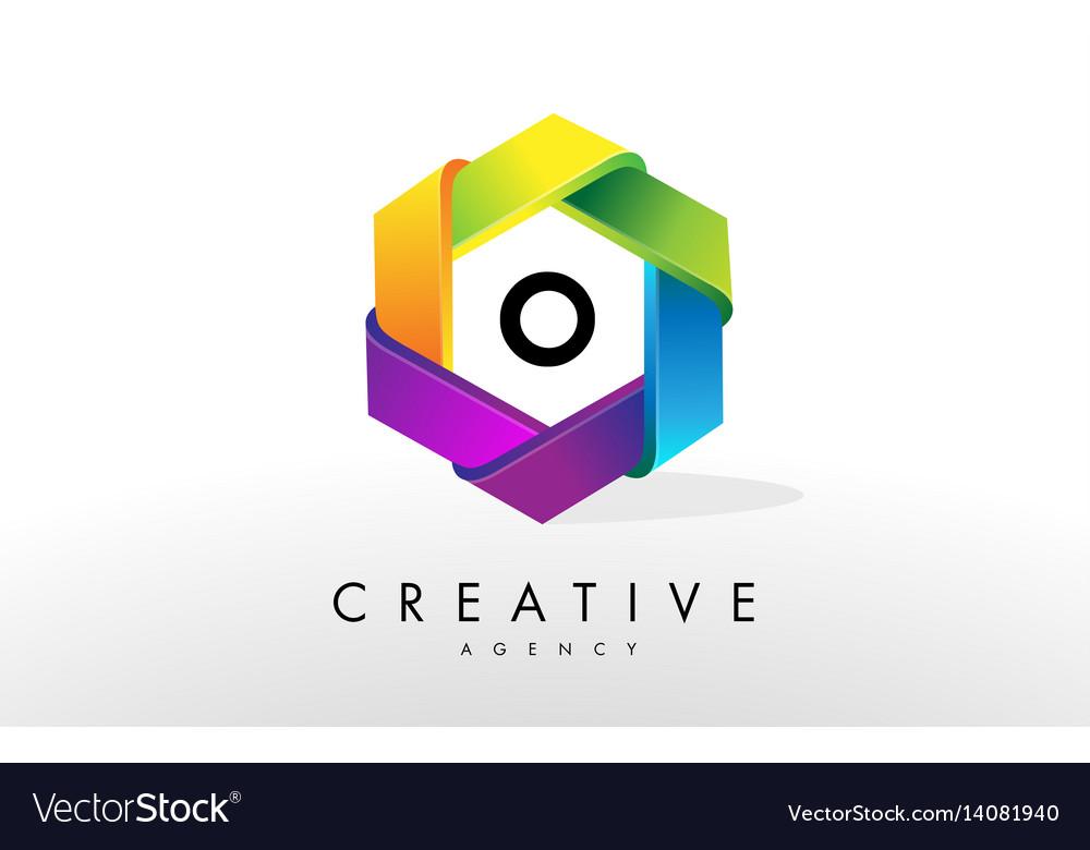 O letter logo corporate hexagon design vector image