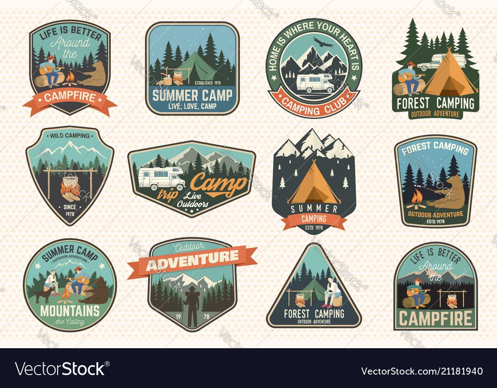 Set of summer camp badges concept for