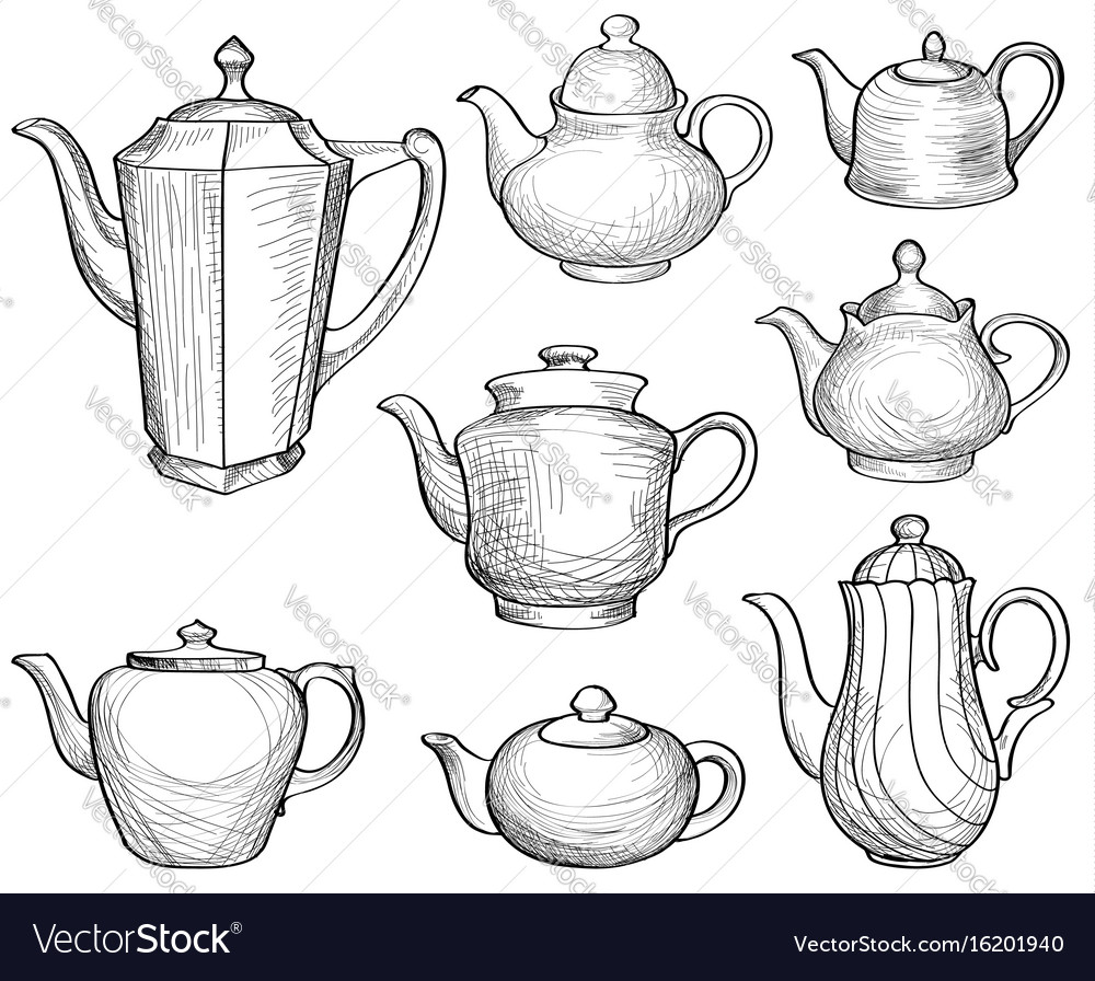 Tea kettles set teapots drawn collection coffee