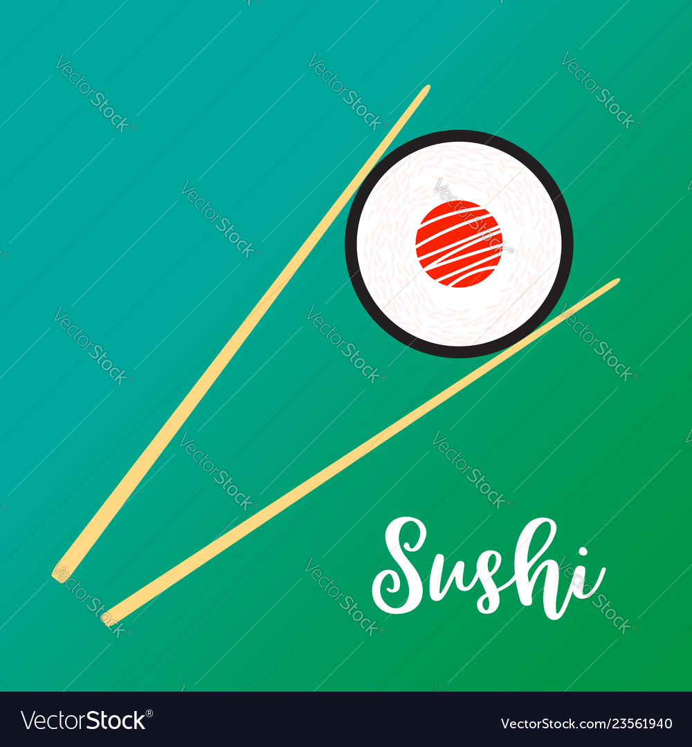 Wooden chopsticks holding sushi