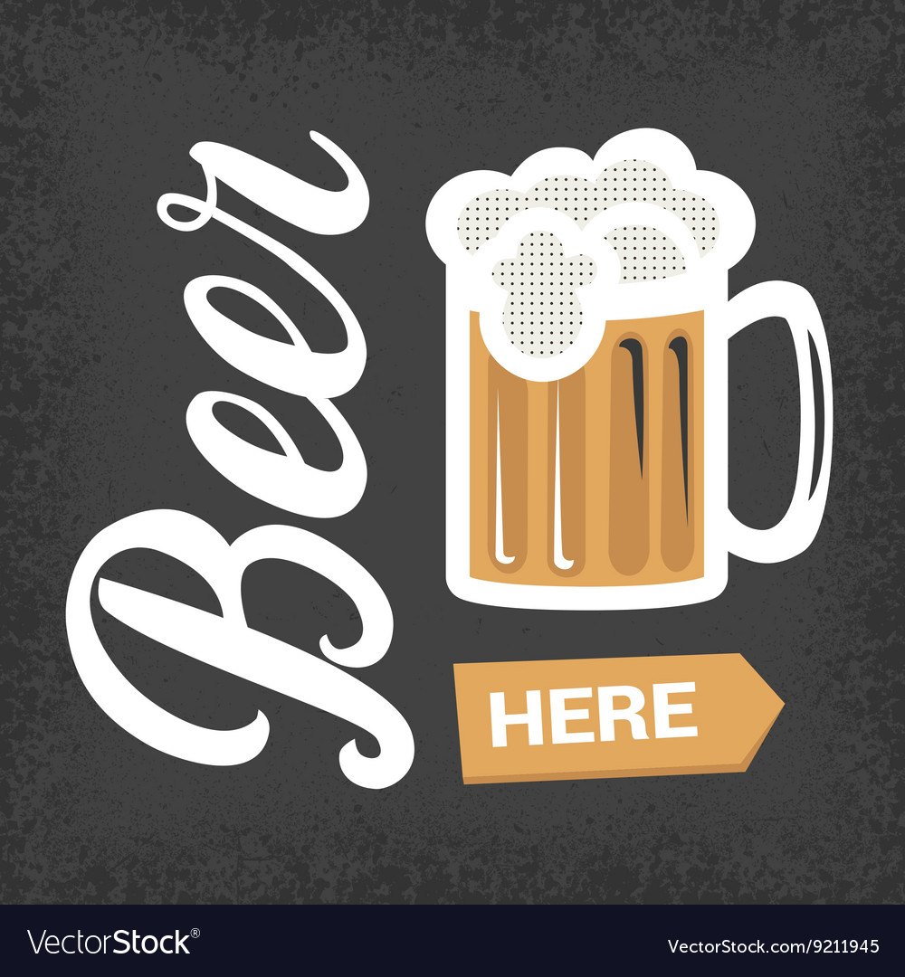 Beer here - vintage poster with lettering and mug