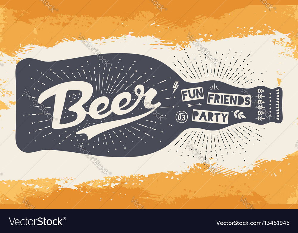 Bottle with hand drawn lettering text beer here
