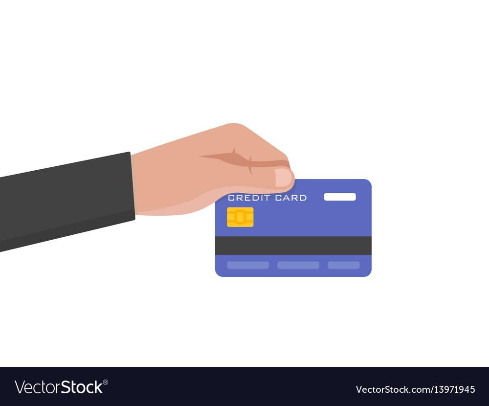 Businessman hand holds credit card