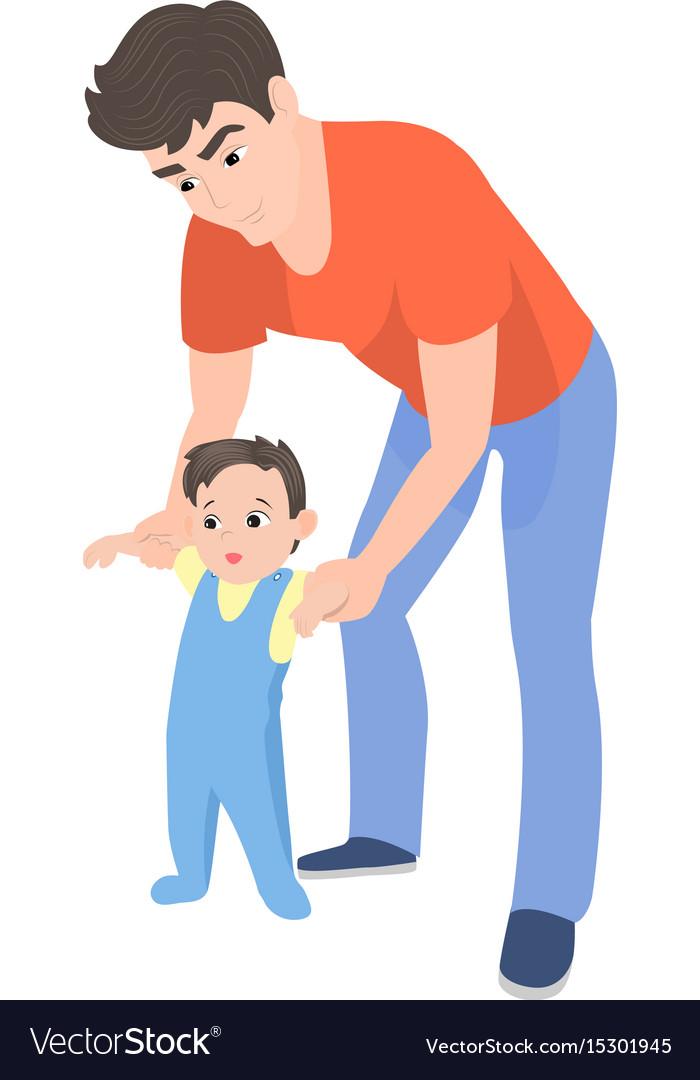 Cartoon father teaching his son to walk
