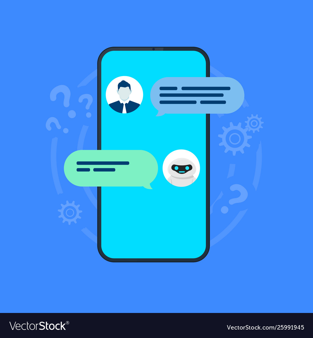 Chatbot smartphone with user and robot chatting